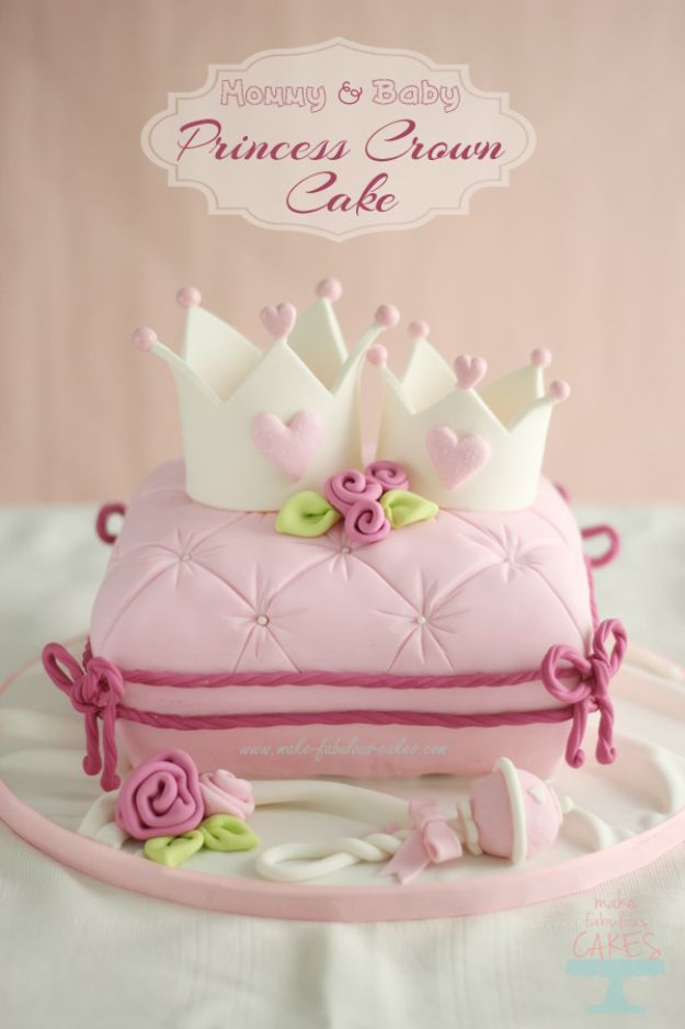 Baby Shower Cakes DIY - Mommy and Baby Princess Crown Cake - Easy Cake Recipes and Cupcakes to Make For Babies Showers - Ideas for Boys and Girls, Neutral, for Twins