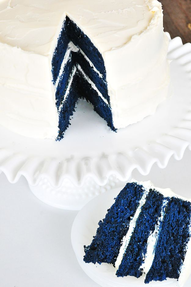 Baby Shower Cakes DIY - Blue Velvet Cake - Easy Cake Recipes and Cupcakes to Make For Babies Showers - Ideas for Boys and Girls, Neutral, for Twins
