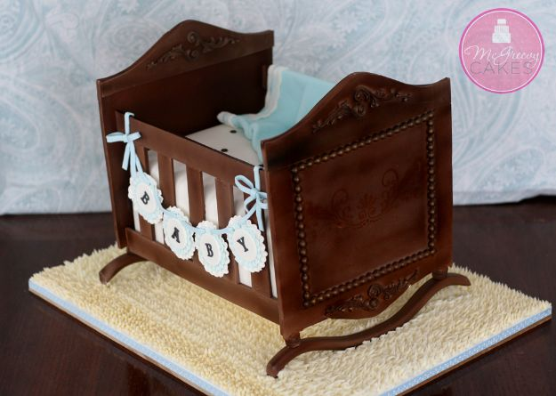 Baby Shower Cakes DIY - Antique Cradle Cake - Easy Cake Recipes and Cupcakes to Make For Babies Showers - Ideas for Boys and Girls, Neutral, for Twins