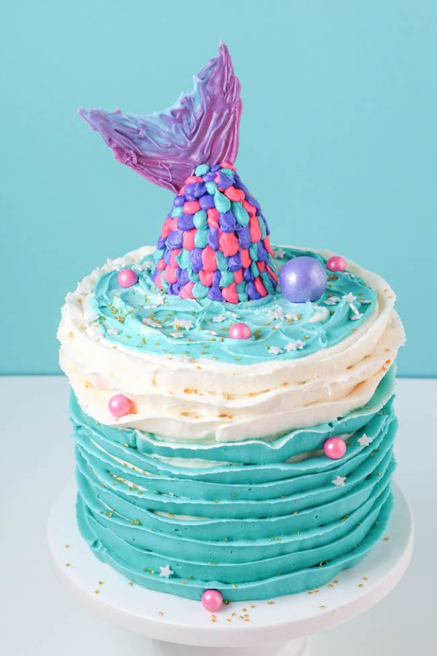 Baby Shower Cakes DIY - Adorable Mermaid Baby Shower Cake - Easy Cake Recipes and Cupcakes to Make For Babies Showers - Ideas for Boys and Girls, Neutral, for Twins