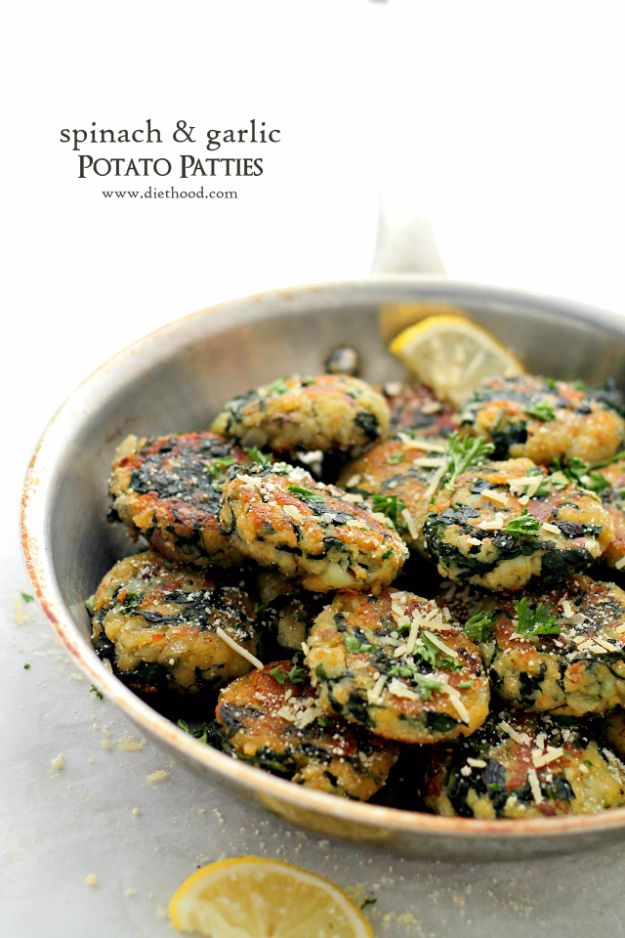 Best Spinach Recipes - Spinach And Garlic Potato Patties - Easy, Healthy Lowfat Recipe Ideas for Dinner, Salads, Lunches, Sides, Smoothies and Even Dessert - Qucik and Creative Ideas for Vegetables - Cheesy, Creamed, Country Style Favorites for Family and For Kids http://diyjoy.com/best-spinach-recipes