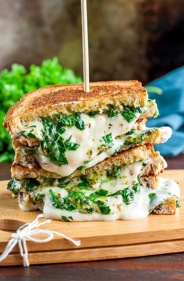 Best Recipes for the Cheese Lover - Easy Cheesy Vegan Spinach Pesto Grilled Cheese - Easy Recipe Ideas With Cheese - Homemade Appetizers, Dips, Dinners, Snacks, Pasta Dishes, Healthy Lunches and Soups Made With Your Favorite Cheeses - Ricotta, Cheddar, Swiss, Parmesan, Goat Chevre, Mozzarella and Feta Ideas - Grilled, Healthy, Vegan and Vegetarian #cheeserecipes #recipes #recipeideas #cheese #cheeserecipe http://diyjoy.com/best-recipes-cheese-lover