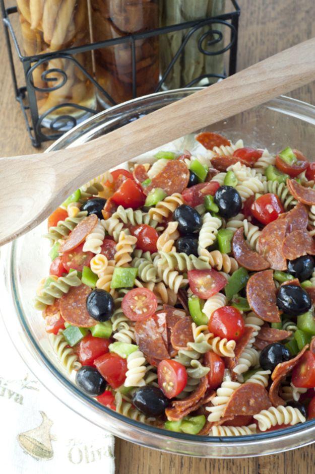 Potluck Recipe Ideas - Classic Italian Pasta Salad - Easy Recipes to Take To Potlucks - Dinner Casseroles, Salads, One Pot Meals, Pasta Dishes, Quick Crockpot Recipes