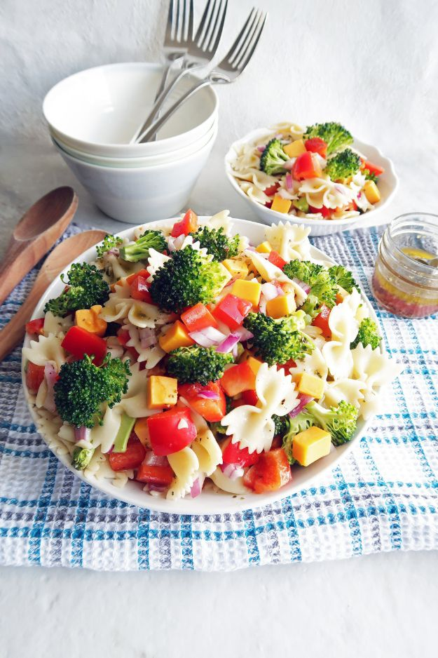 Potluck Recipe Ideas - Broccoli Cheddar Pasta Salad with Tangy Italian Vinaigrette - Easy Recipes to Take To Potlucks - Dinner Casseroles, Salads, One Pot Meals, Pasta Dishes, Quick Crockpot Recipes