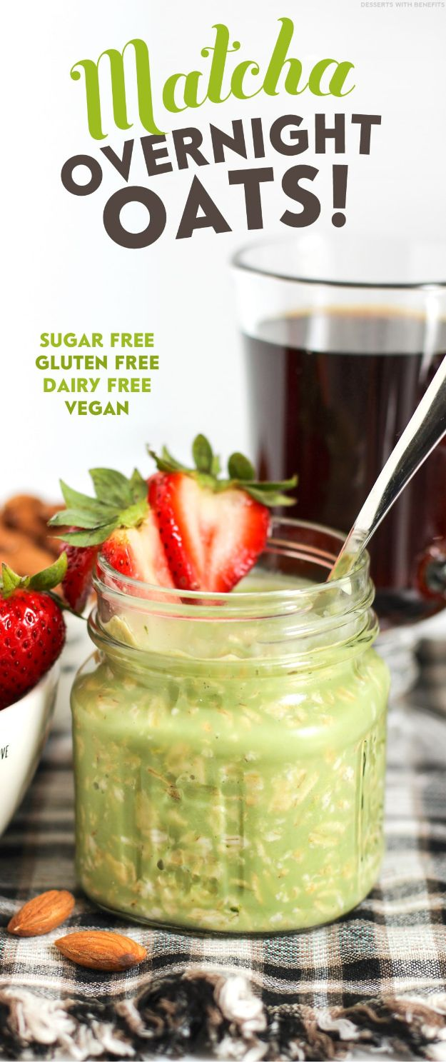 Overnight Oats Recipes - Healthy Matcha Green Tea Overnight Oats - Easy Breakfast Recipe Idea - Healthy Fruit to Add Blueberry, Banana, Strawberry and Pineapple, Apple Cinnamon - Brunch Ideas and Kids Breakfasts http://diyjoy.com/overnight-oats-recipes
