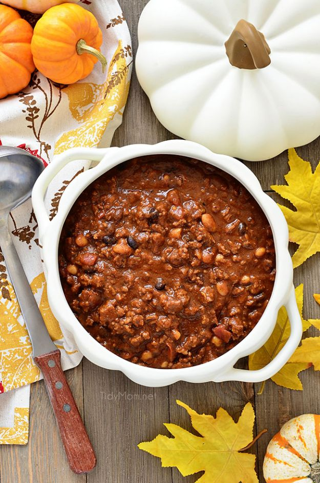 Pumpkin Recipes - Pumpkin Chili - Easy Dessert Ideas, Dinner Meals With Pumpkin- Paleo, Gluten Free, Fresh and Healthy Pumpkin Recipes for Kids - Best Pumpkin Pie for Thanksgiving Desserts Healthy Pumpkin Ideas and Easy Bread, Pie, Dessert and Muffins - Recipe for Pumpkin Spice Apple Dishes, Paleo and Gluten Free Versions of Holiday Favorites - Breakfast, Lunch, Snack, Dinner and Dessert Recipes With Pumpkin Savory and Hearty Fall Meals - http://diyjoy.com/pumpkin-recipes