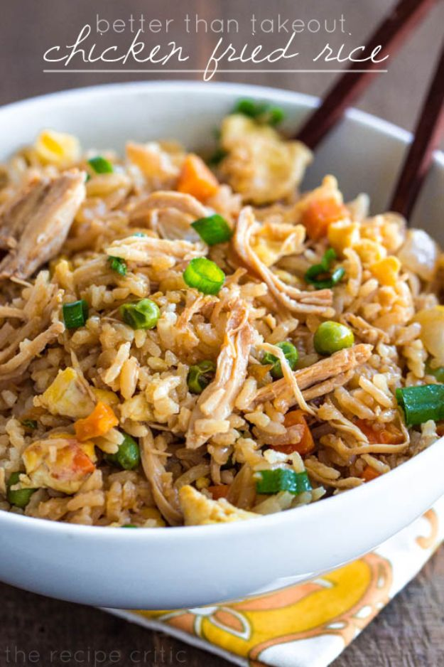 Easy Recipes For Rotisserie Chicken - Chicken Fried Rice - Healthy Recipe Ideas for Leftovers - Comfort Foods With Chicken - Low Carb and Gluten Free, Crock Pot Meals, Appetizers, Salads, Sour Cream Enchiladas, Pasta, One Pot Meals and Casseroles for Quick Dinners http://diyjoy.com/recipes-rotisserie-chicken