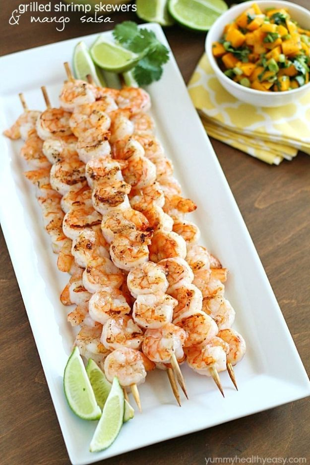 Best Recipe Ideas for Summer - Grilled Shrimp Skewers With Mango Salsa - Cool Salads, Easy Side Dishes, Recipes for Summer Foods and Dinner to Beat the Heat - Light and Healthy Ideas for Hot Summer Nights, Pool Parties and Picnics http://diyjoy.com/best-recipes-summer