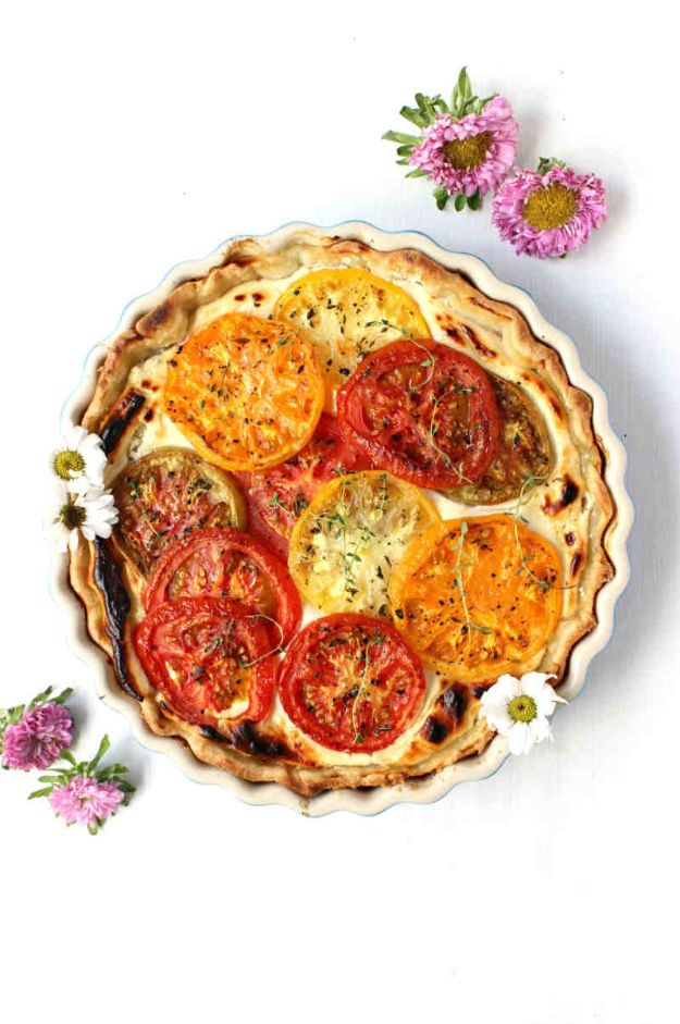 Best Brunch Recipes - Savory Goat Cheese Tomato Pie - Eggs, Pancakes, Waffles, Casseroles, Vegetable Dishes and Side, Potato Recipe Ideas for Brunches - Serve A Crowd and Family with the versions of Eggs Benedict, Mimosas, Muffins and Pastries, Desserts - Make Ahead , Slow Cooler and Healthy Casserole Recipes http://diyjoy.com/best-brunch-recipes