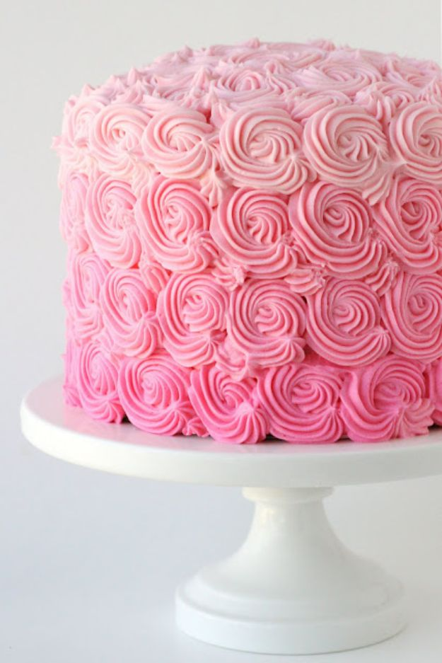 Baby Shower Cakes DIY - Pink Ombre Swirl Cake - Easy Cake Recipes and Cupcakes to Make For Babies Showers - Ideas for Boys and Girls, Neutral, for Twins