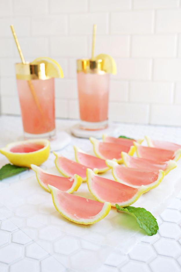 Best Jello Shot Recipes - Pink Lemonade Jello Shots - Easy Jello Shots Recipe Ideas with Vodka, Strawberry, Tequila, Rum, Jolly Rancher and Creative Alcohol - Unique and Fun Drinks for Parties like Whiskey Fireball, Fall Halloween Versions, Malibu, 4th of July, Birthday, Summer, Christmas and Birthdays http://diyjoy.com/best-jello-shot-recipes