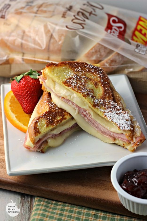 Best Recipes for the Cheese Lover - Monte Cristo Style Grilled Cheese Sandwich - Easy Recipe Ideas With Cheese - Homemade Appetizers, Dips, Dinners, Snacks, Pasta Dishes, Healthy Lunches and Soups Made With Your Favorite Cheeses - Ricotta, Cheddar, Swiss, Parmesan, Goat Chevre, Mozzarella and Feta Ideas - Grilled, Healthy, Vegan and Vegetarian #cheeserecipes #recipes #recipeideas #cheese #cheeserecipe http://diyjoy.com/best-recipes-cheese-lover