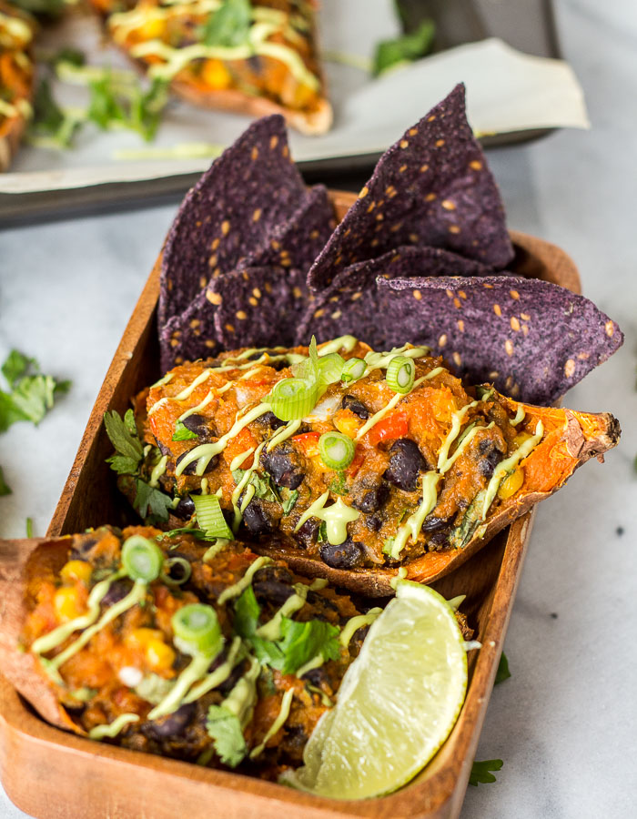 Mexican Stuffed Sweet Potato Skins - Vegan + Gluten-free | glutenfreeveganpantry.com