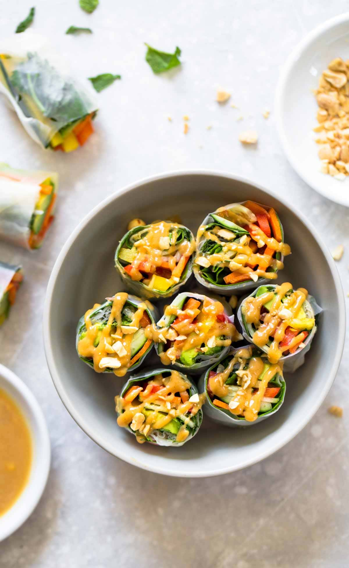Thai Summer Rolls with Peanut Sauce in a bowl.