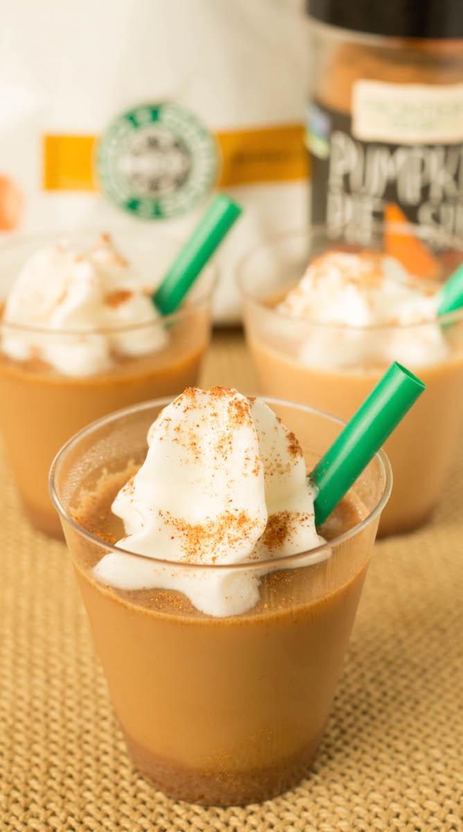 Pumpkin Spice Latte turned into a boozy jello shot! Easy to follow recipe.