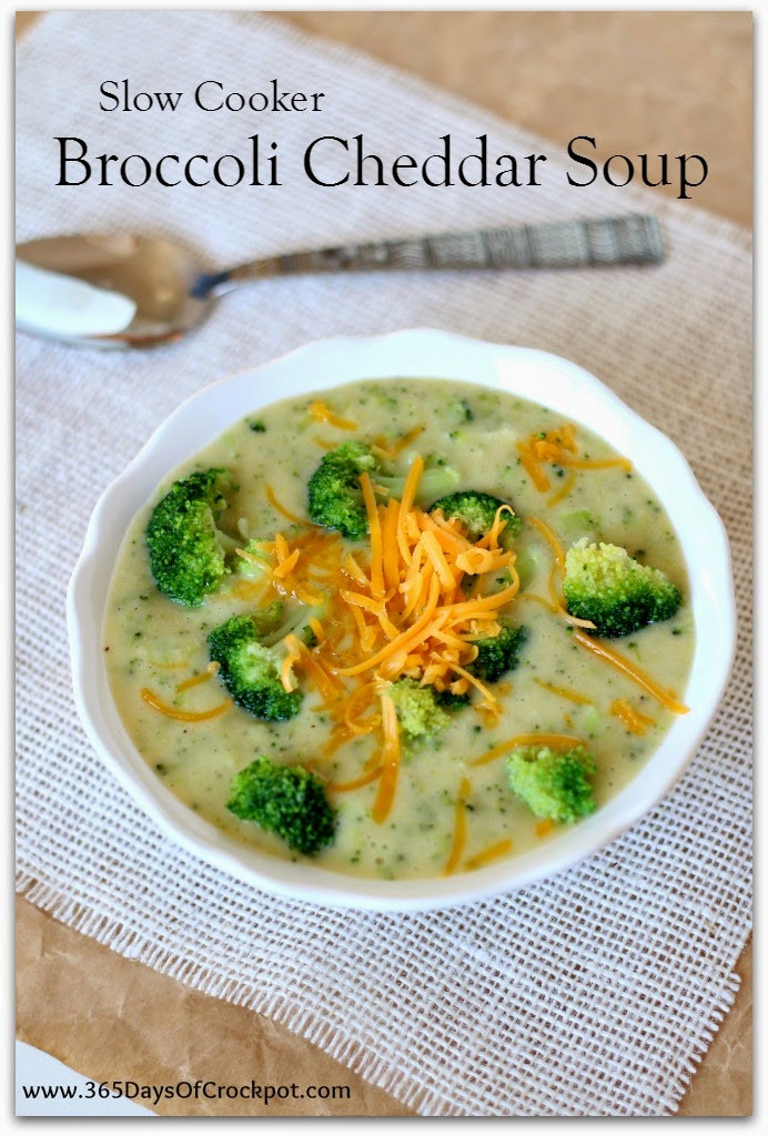 365 Gluten Free Crockpot Recipes  Slow Cooker Broccoli Cheddar Soup lightened up and gluten