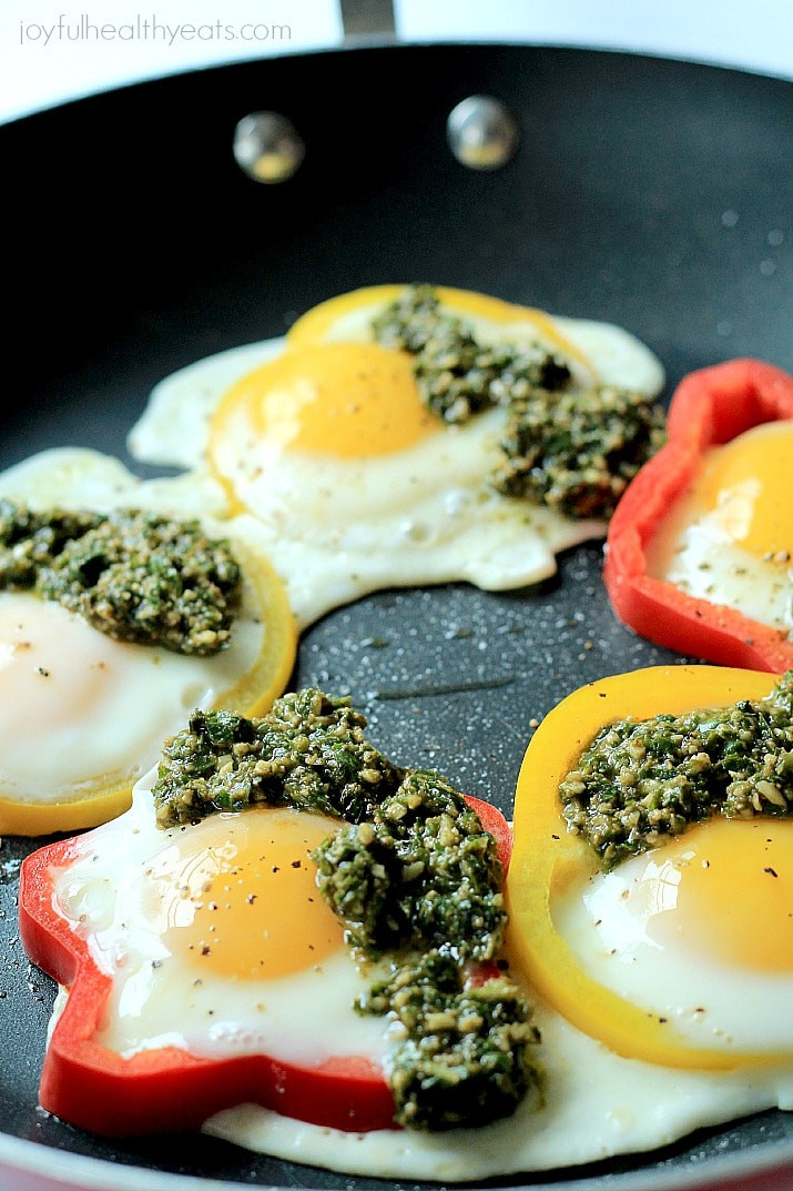 A Healthy Breakfast  Egg in a Hole with Basil Pesto