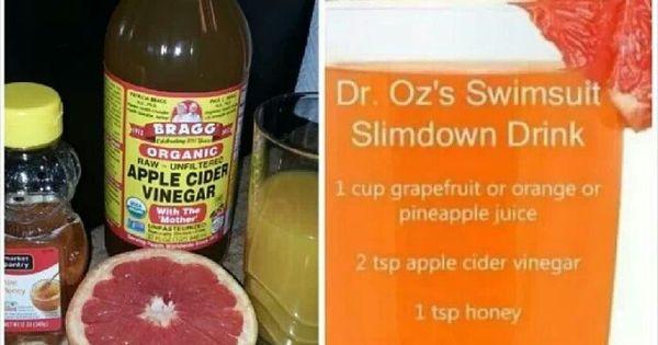 Apple Cider Vinegar Weight Loss Dr Oz  Dr oz slim down drink Use after two weeks