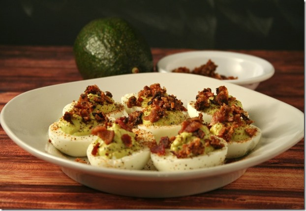 Are Deviled Eggs Low Carb  Low Carb Kickin Bacon Avocado Deviled Eggs AppetizerWeek