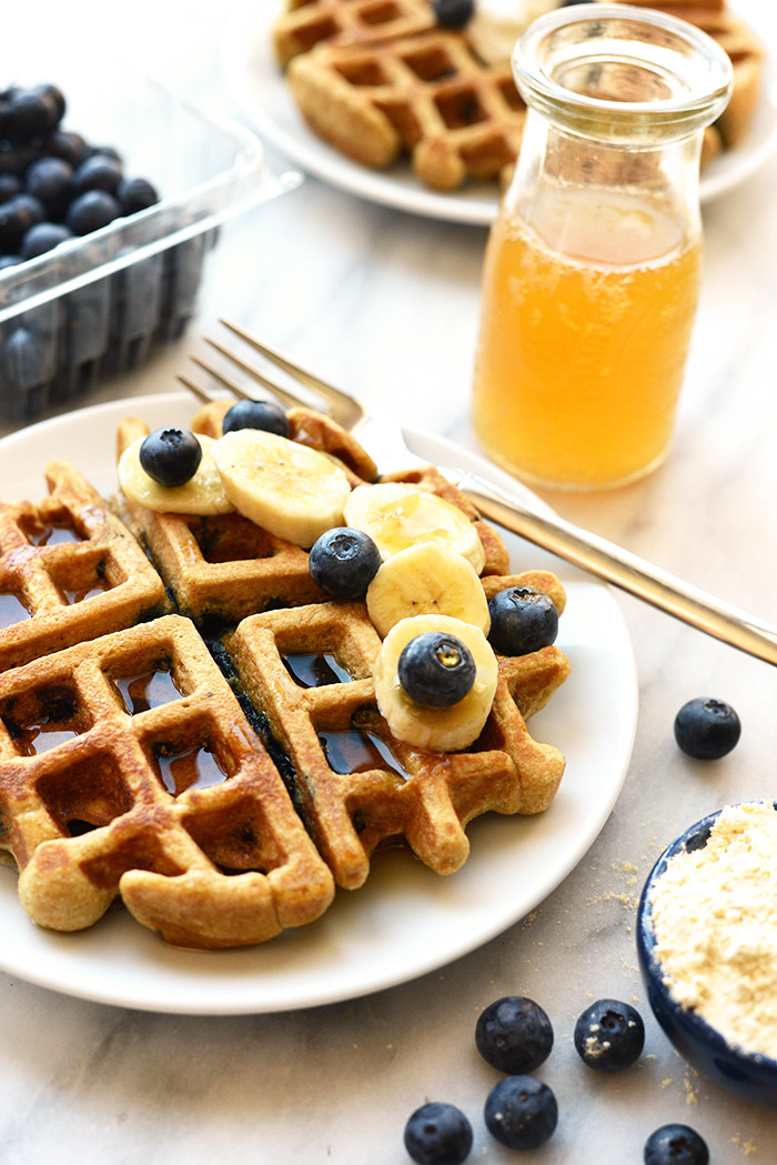 Are Waffles Healthy  Healthy Blueberry Waffles Fit Foo Finds