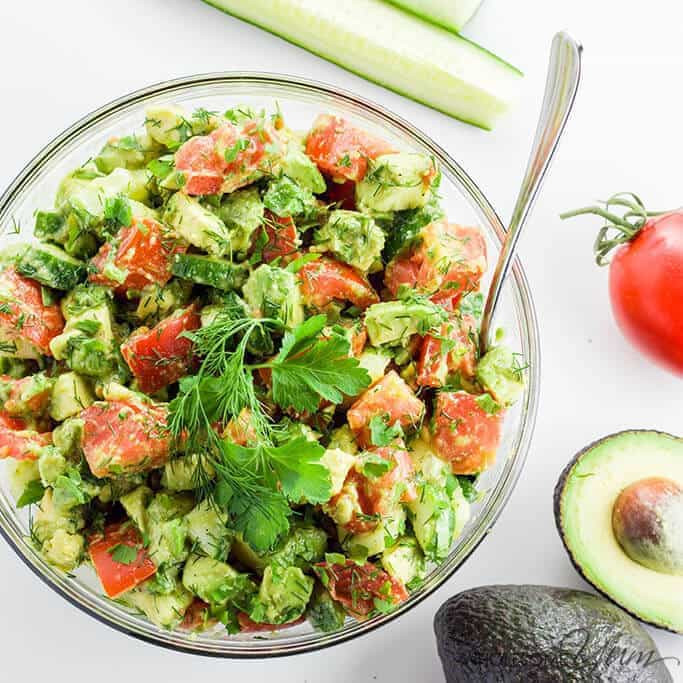 Avocado Keto Diet  Cucumber Tomato Avocado Salad Recipe Paleo Low Carb