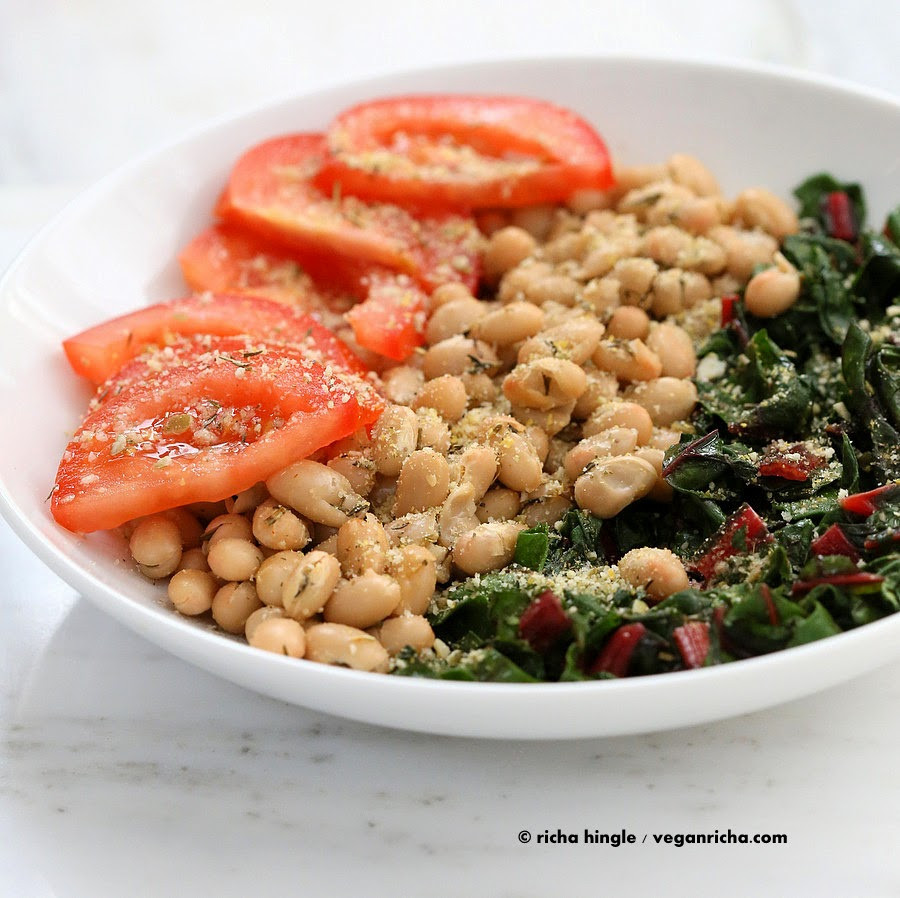 Bean Recipes Vegan  Herbed White Bean Rainbow Chard Thyme Pepita Parmesan Bowl