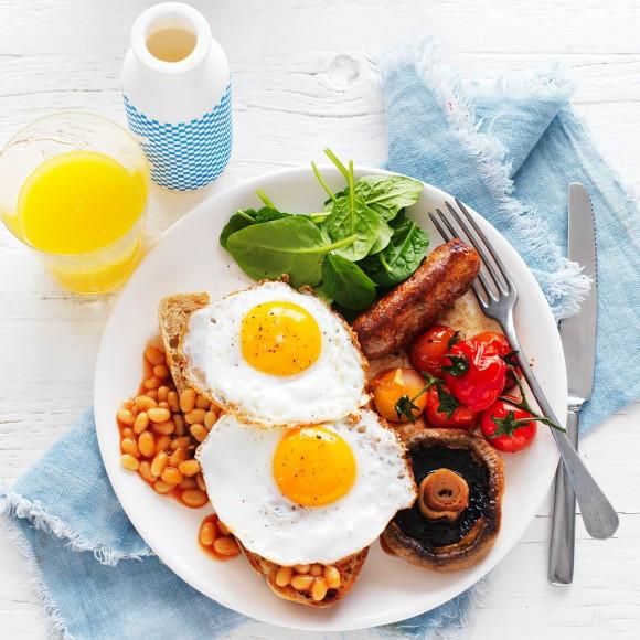 Big Healthy Breakfast  Healthy Big Breakfast with Fried Eggs Recipe