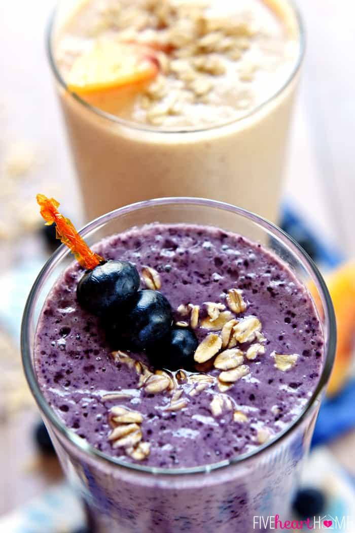 Blueberry Smoothies Healthy  Healthy Oat Smoothies Blueberry Muffin & Peach Cobbler