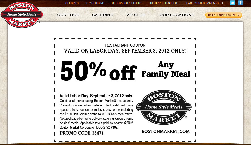 Boston Market Easter Dinner 2019  Boston Market Coupons off a family meal Monday at