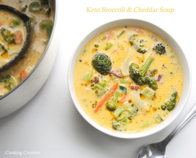 Broccoli Cheddar Soup Keto  Cooking Creation Keto Cheddar & Broccoli Soup