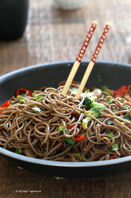 Buckwheat Noodles Gluten Free  Vegan Lo Mein with Soba Noodles Vegan Richa