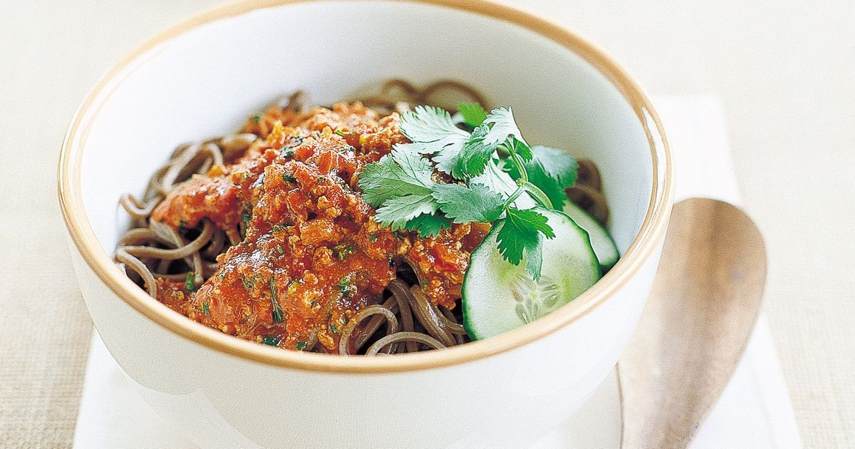 Buckwheat Noodles Gluten Free  Buckwheat noodles with spicy bolognaise gluten free