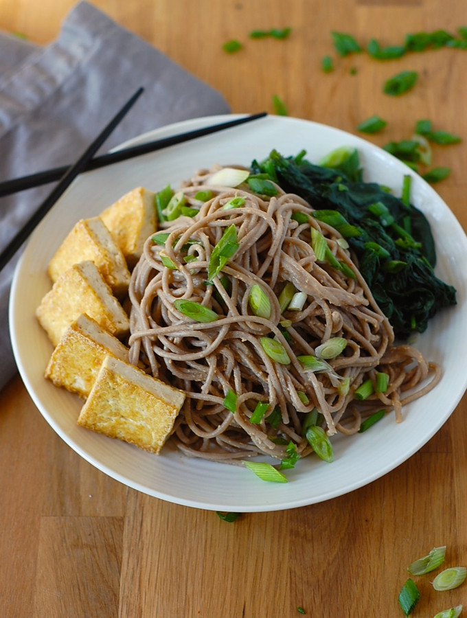 Buckwheat Noodles Gluten Free  Soba Noodles with Tofu and Spicy Sesame Sauce Vegan