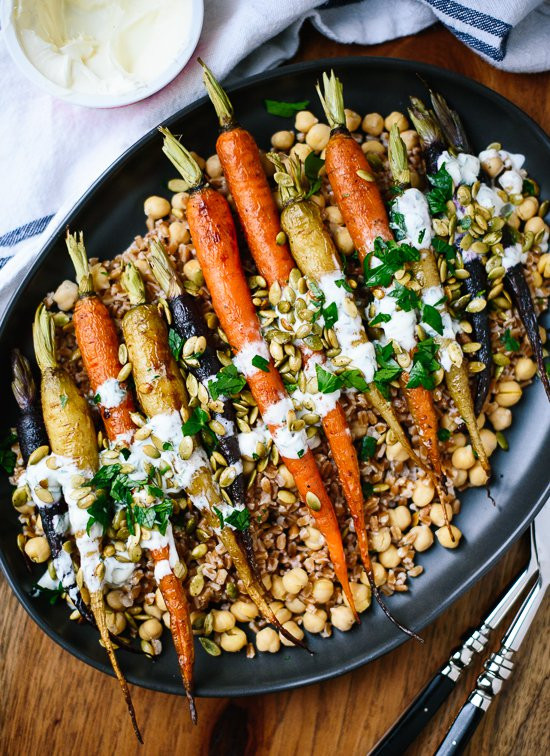 Carrot Recipes Vegetarian  Roasted Carrots with Farro & Chickpeas Cookie and Kate