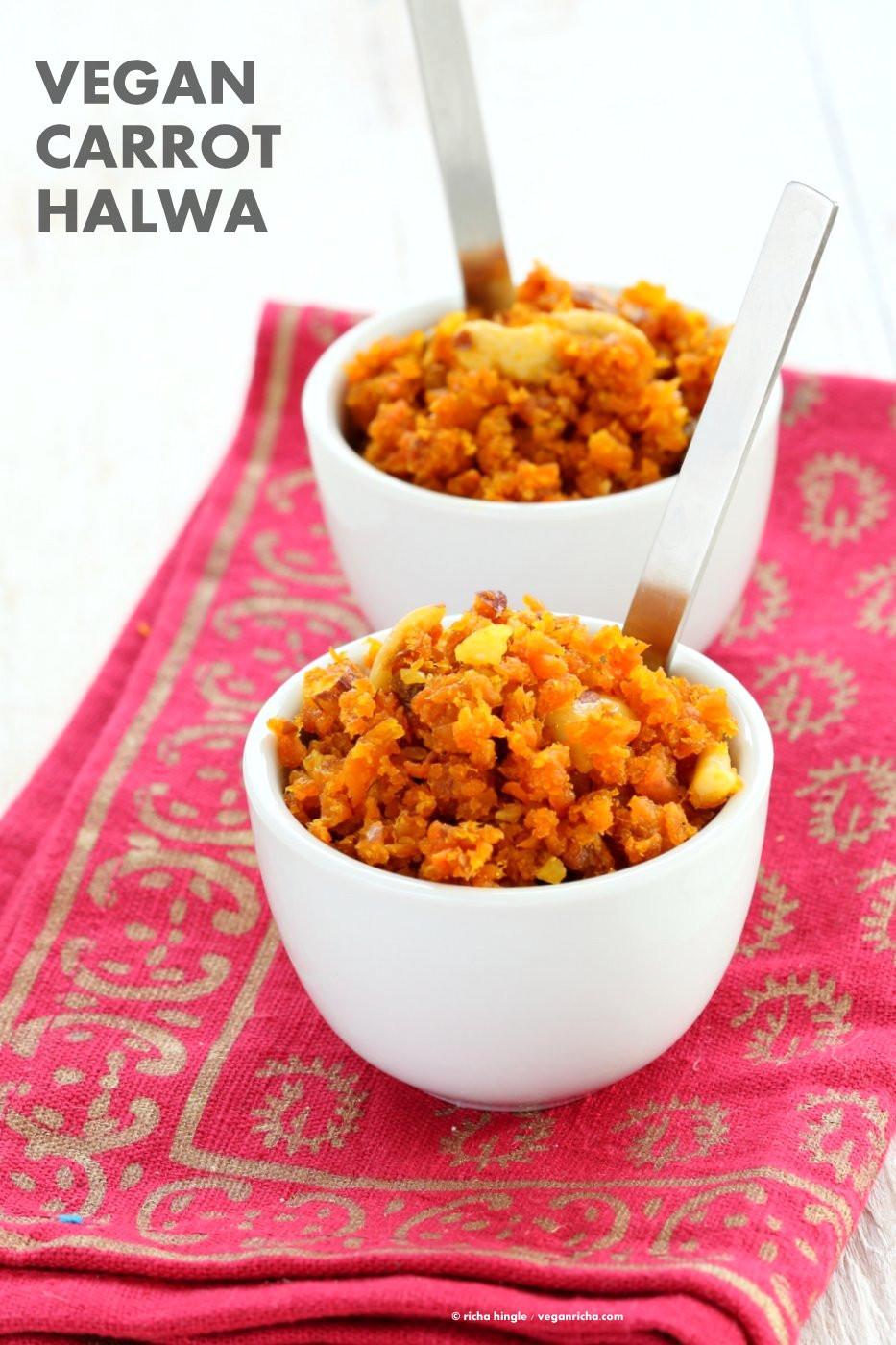 Carrot Recipes Vegetarian  Vegan Carrot Halwa Gajar Halwa Recipe Vegan Richa