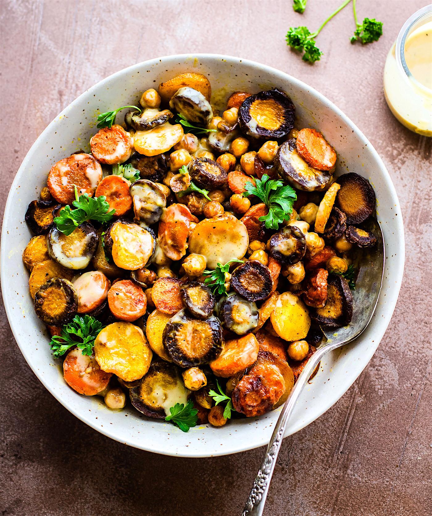 Carrot Recipes Vegetarian  Turmeric Roasted Chickpea Rainbow Carrot Salad Vegan
