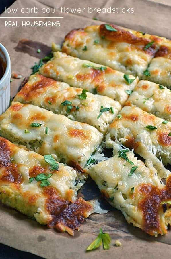 Cauliflower Low Carb Recipes  Low Carb Cauliflower Breadsticks Low Carb Recipes VIDEO