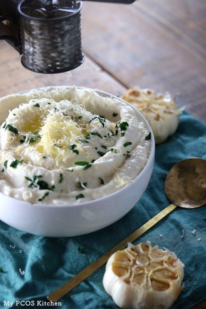 Cauliflower Mashed Potatoes Keto  Creamy Keto Mashed Cauliflower My PCOS Kitchen