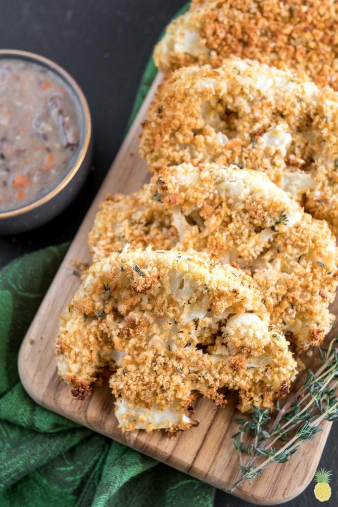 Cauliflower Steaks Vegan  Breaded Thanksgiving Cauliflower Steaks oil free