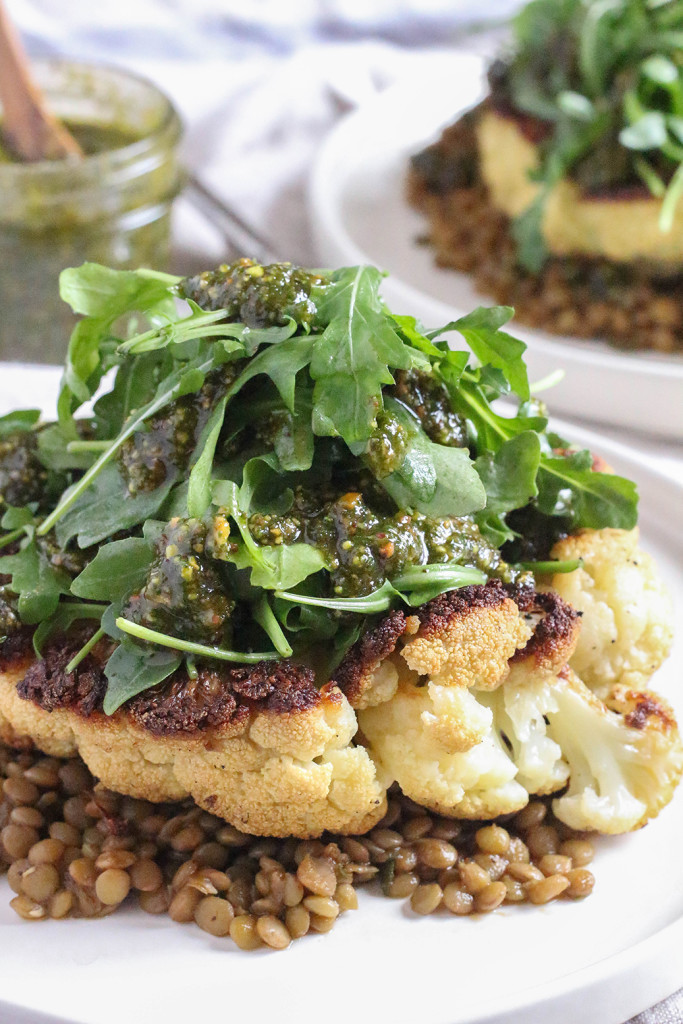 Cauliflower Steaks Vegan  Cauliflower Steaks with Lentils & Pistachio Mint Pesto
