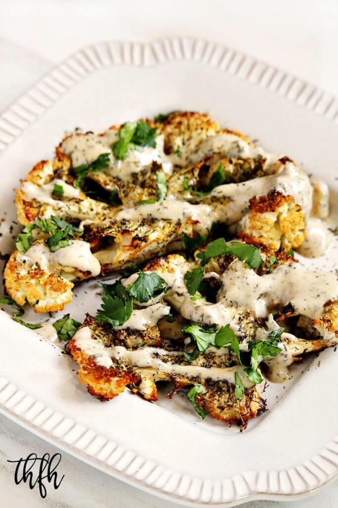 "Cauliflower Steaks Vegan  Gluten Free Vegan Roasted Cauliflower ""Steaks"" with Lemon"