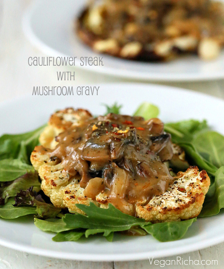 Cauliflower Steaks Vegan  Cauliflower Steaks with Mushroom Gravy Vegan Glutenfree