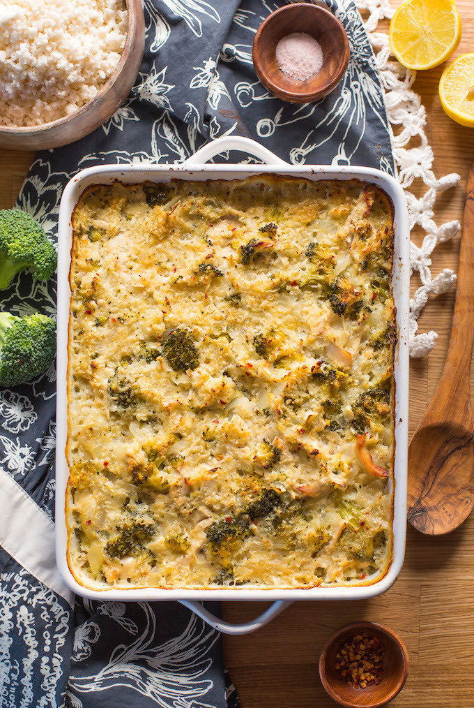 Chicken Broccoli Cauliflower Casserole Low Carb  Chicken & Broccoli Cauliflower Rice Casserole A Saucy