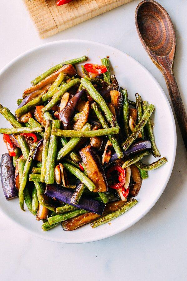Chinese Recipes Vegetarian  Eggplant String Bean Stir fry Recipe The Woks of Life