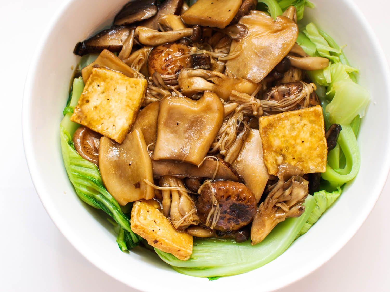 Chinese Recipes Vegetarian  Mushrooms and Tofu With Chinese Mustard Greens Recipe
