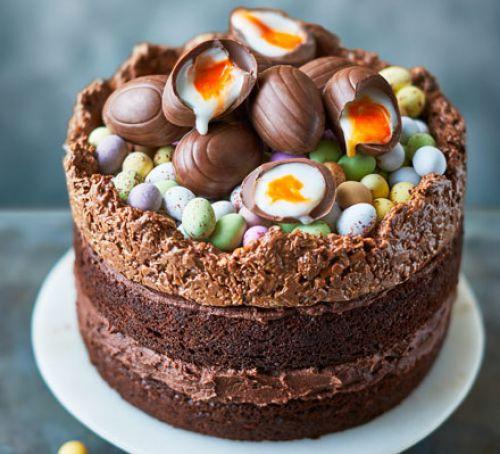 Chocolate Easter Cake  Easter nest cake recipe