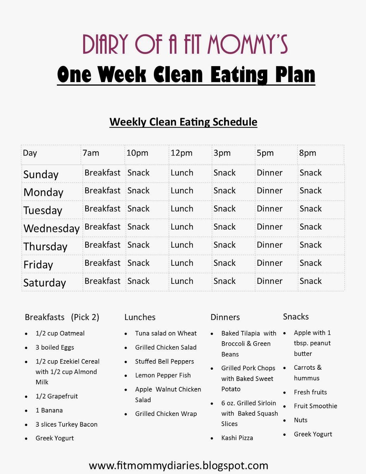 Clean Eating Weight Loss Plan  Eating Clean Meal Plan Summer Menu