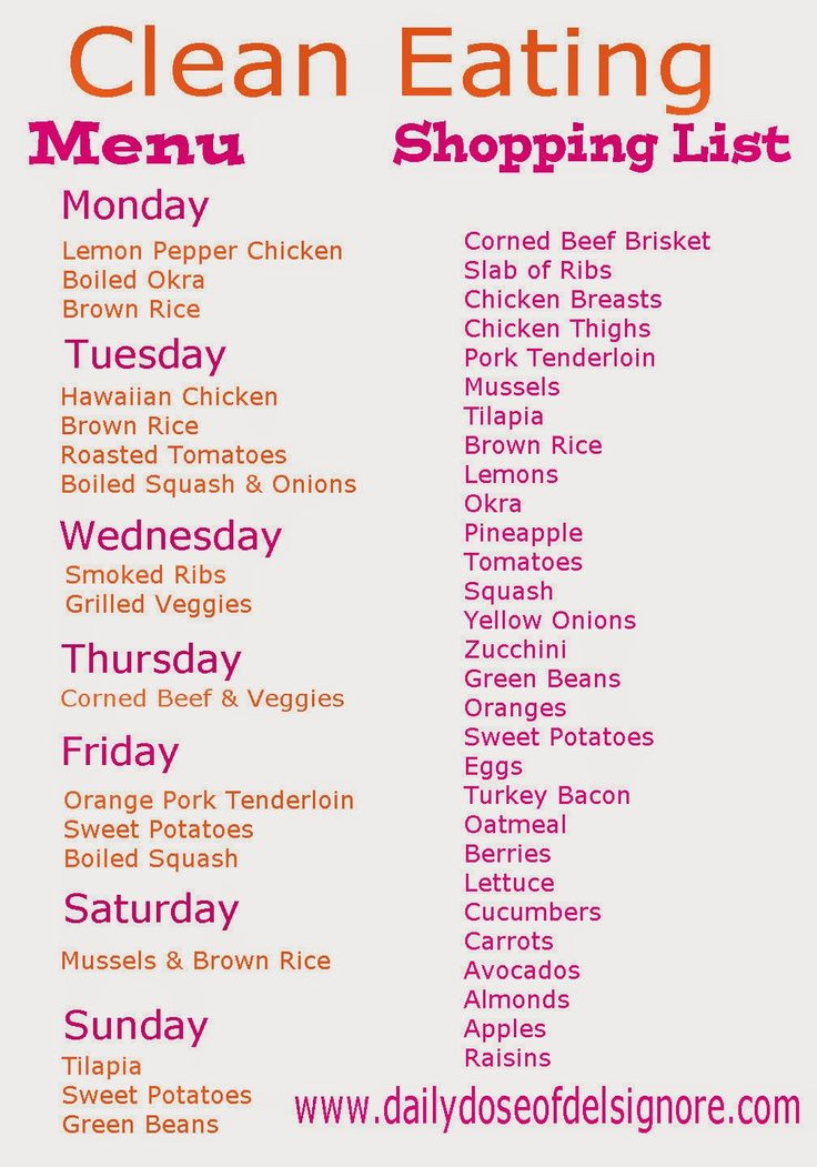 Clean Eating Weight Loss Plan  Eat Clean on a Bud Menu and Shopping List