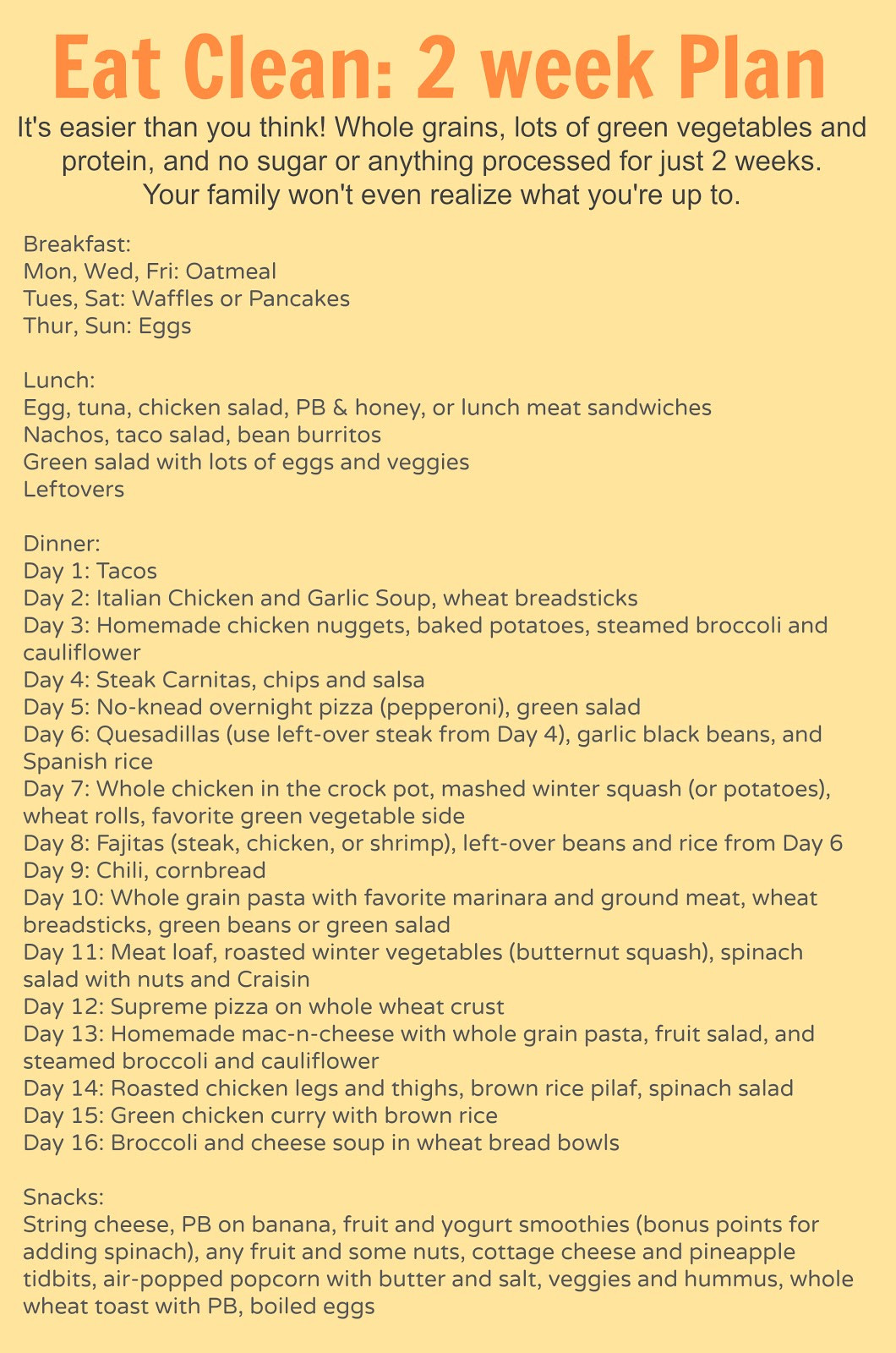 """Clean Eating Weight Loss Plan  """"Eat Clean For e Month With Me"""" Plan – Tessa Van Wade"""