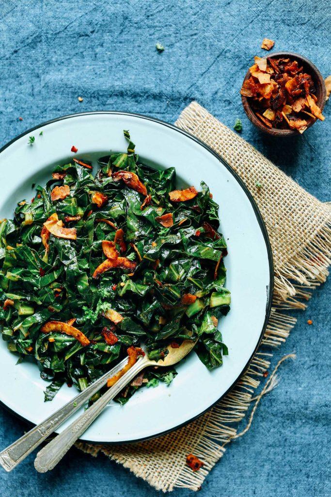 Collard Greens Vegetarian Recipes  Coconut Bacon Collard Greens
